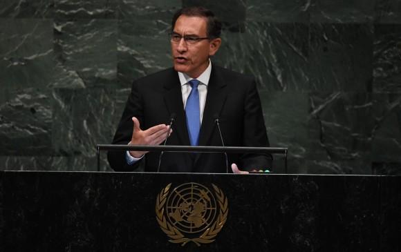 Martín Vizcarra, presidente de Perú, durante su intervención en la Asamblea General de las Naciones Unidas. FOTO: AFP