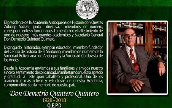 Foto: Tomada de Facebook - Academia Antioqueña de Historia.