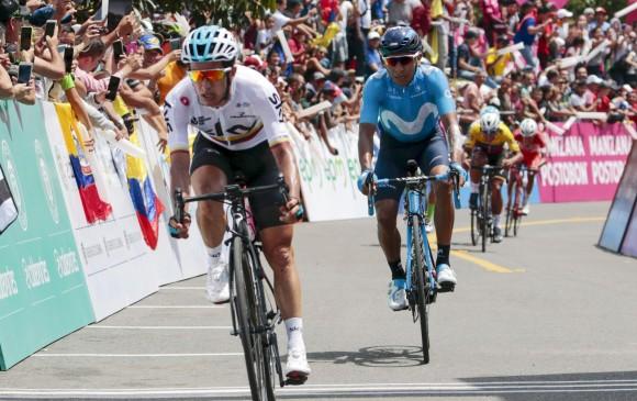 Sergio Luis Henao y Nairo Quintana llegaron segundo y tercero, respectivamente. FOTO AFP