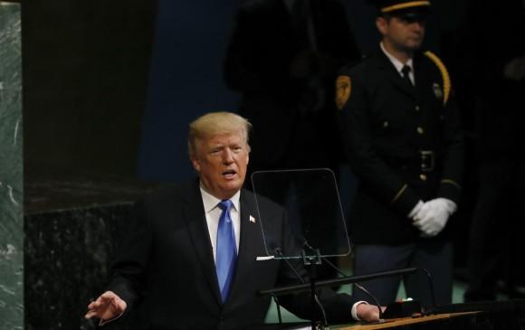 Donald Trump presidente de Estados Unidos durante la Asamblea de la ONU