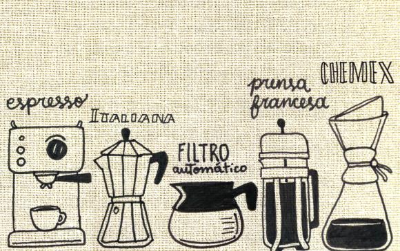 La molienda del café cambia según el tipo de cafetera. ILUSTRACIÓN: HUGO VÁSQUEZ