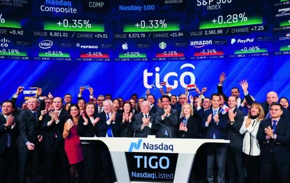 Millicom se estrenó en la Bolsa de Nueva York, bajo el nombre Tigo. Los ejecutivos de la compañía señalaron como histórico este momento. FOTO cortesía tigoune