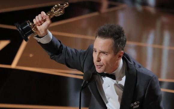 Sam Rockwell celebra su primer Óscar. FOTO Reuters