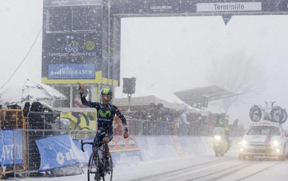 El ciclista boyacense Nairo Quintana terminó de primero en la quinta etapa de la Tirreno-Adriático, colocándose primero en la general. FOTO AP