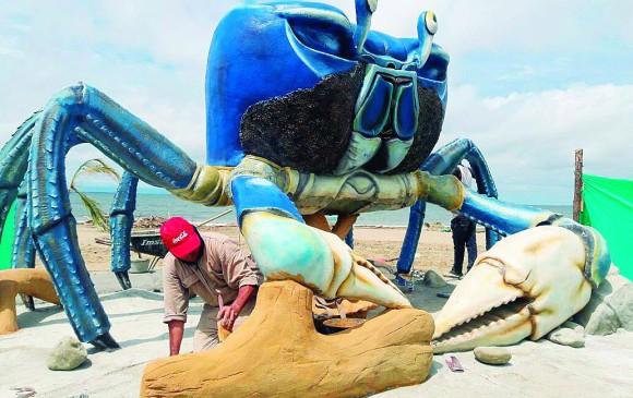 Cangrejo azul: Fue instalada en 2016 en Playa Dulce, Turbo, y resalta la importancia de esta especie que es patrimonio cultural y gastronómico de esta localidad. FOTO archivo
