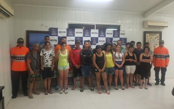 Migrantes ecuatorianos rescatados en San Andrés