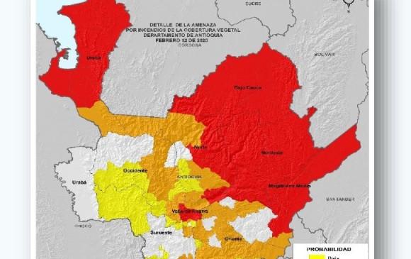 Este es el mapa actualizado del CRPA sobre las alertas de riesgo de incendio forestal en Antioquia. FOTO: cortesía CRPA.