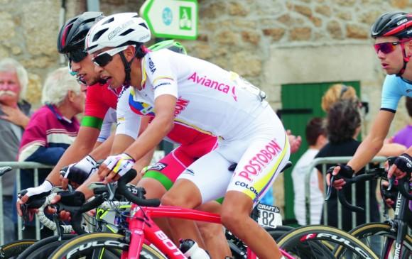 Iván Ramiro Sosa hace parte del elenco nacional que disputa en carreteras francesas la posibilidad de volver a ganar el Tour de l'Avenir. FOTO cortesía Éder Garcés-fedeciclismo