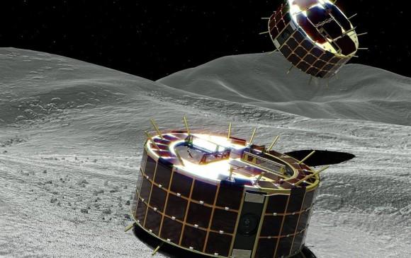 Dos robots fueron lanzados por la nave espacial Hayabusa 2 al asteroide Ryugu. Cada explorador tiene el tamaño de una naranja. Foto: JAXA / EPA