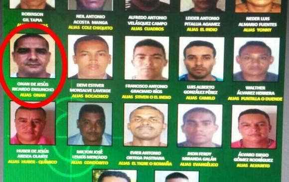 """El afiche de los más buscados de Antioquia, en el que aparece alias """"Onán"""". FOTO: cortesía de la Policía Nacional."""