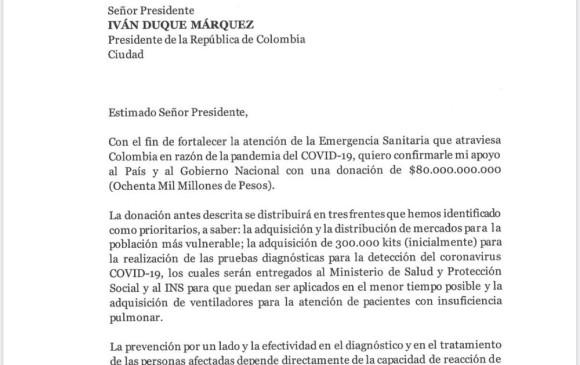Copia de la carta enviada por Sarmiento Angulo a Iván Duque.