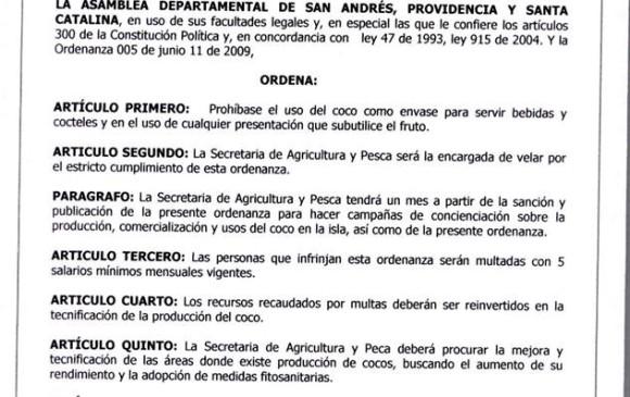 Este es el documento que ordena suspender las bebidas servidas en Coco.