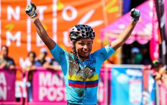 Leidy Mera recibió una sutura de cinco puntos en su mejilla. Demostró la fortaleza que ha convertido a los colombianos en protagonistas en las modalidades del ciclismo. FOTO cortesía Fedeciclismo EG