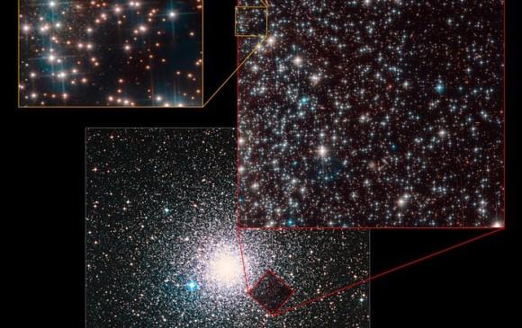 La composición de fotografías muestra cómo la galaxia está en un rincón del campo de visión del telescopio, lo que dificultó su descubrimiento. Es demasiado débil y pequeña. FOTO Hubble
