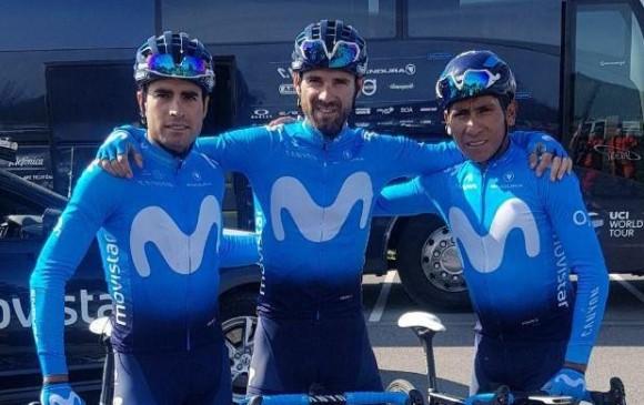 Nairo Quintana, Mikel Landa y Alejandro Valverde. FOTO CORTESÍA MOVISTAR