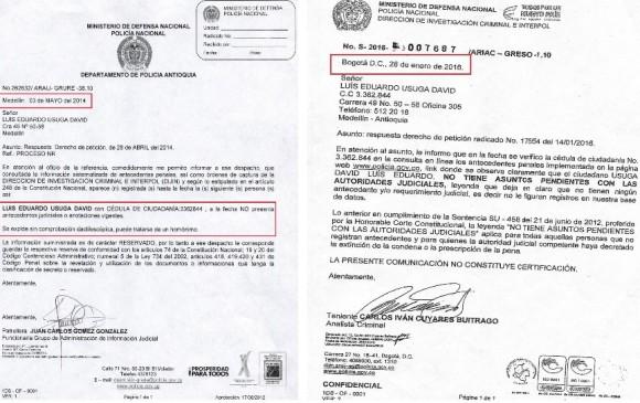 Algunas de las respuestas remitidas por la Policía en 2014 y 2016, al abogado de Luis Úsuga, en las que señalan que no tiene antecedentes penales y que se trata de un aparente caso de homonimia. FOTO: CORTESÍA.