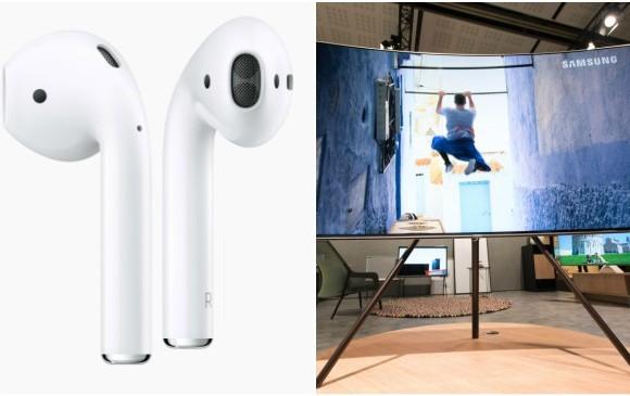 Detrás de los objetos tecnológicos hay diseñadores que crean experiencias, que deben ser bellas y útiles, como los airpods (derecha) o este televisor que se exhibe con un trípode. FOTO cortesía