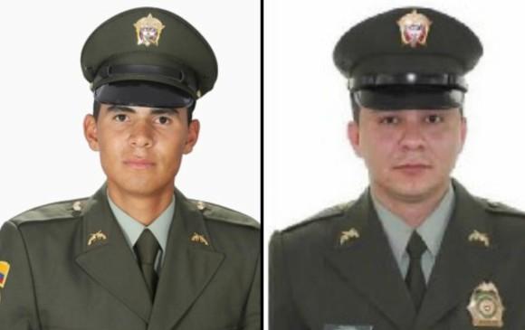 Patrullero Yemisón Gómez Correa y subintendente Luis Carlos Torres Montoya. Fotos: Cortesía