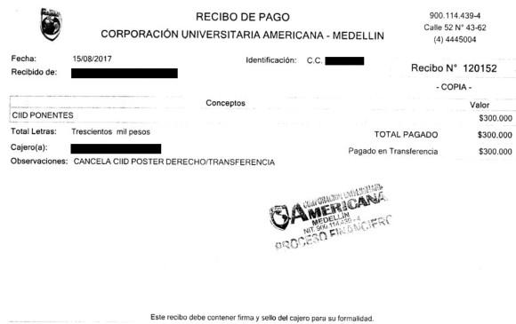 Este es el recibo de caja del congreso al que asistió Pablo Gutiérrez.