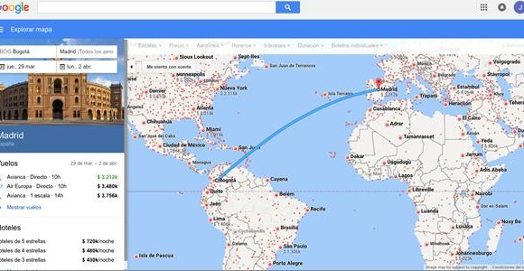 Así se ve Google Flights en un navegador. FOTO: Google