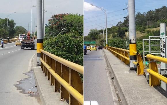 La avenida Guayabal por encima de la Autopista, tiene este delgado andén que termina en unas escaleras usadas para ver los alumbrados de la ciudad. FOTO Cortesía