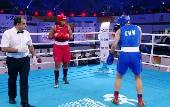 Jessica Caicedo cumplió un excelente papel en el campeonato del mundo de boxeo al alcanzar medalla de plata. Perdió la final con la china Wang. FOTO TWITTER FEDEBOXEO