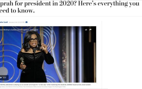 Así tituló el Washington Post. Oprah para presidenta en 2020? Esto es todo lo que necesitas saber. FOTO Internet