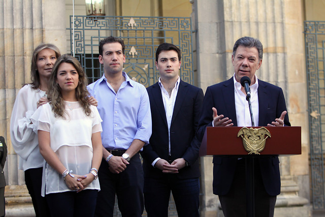 Mayo de 2014, primera vuelta de la reelección cuando se midió contra Óscar Iván Zuluaga. FOTO COLPRENSA