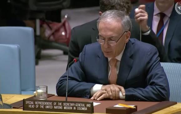 Jean Arnault, jefe de misión de observación en Colombia, presentó su informe hoy en el Consejo de Seguridad de la ONU. FOTO: Naciones Unidas