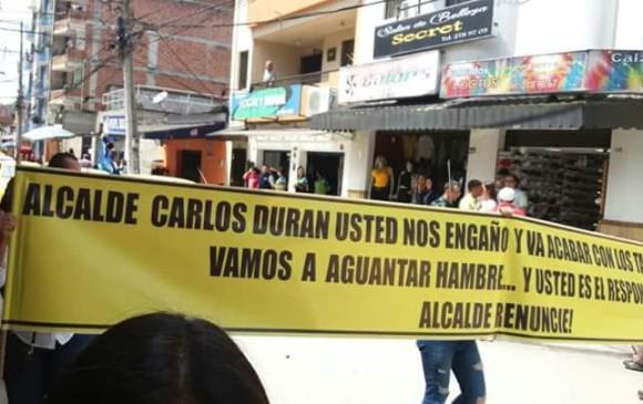 Protesta de los taxistas. FOTO CORTESÍA