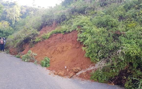 La temporada de lluvias en el Suroeste antioqueño habría ocasionado el deslizamiento. FOTO CORTESÍA