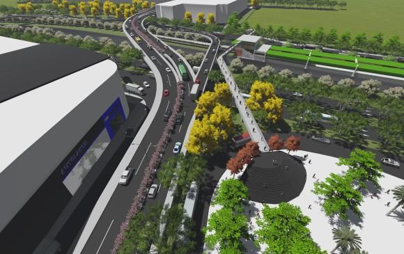Este es el diseño inicial del proyecto del complejo vial de la Ayurá que incluye un puente de retorno hacia la Autopista Sur de vehículos que van por la Regional. RÉNDER Cortesía