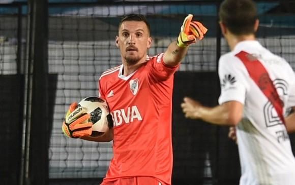 Franco Armani, con 31 años de edad, defiende el arco de River Plate, su cuarto equipo como arquero profesional. FOTO efe