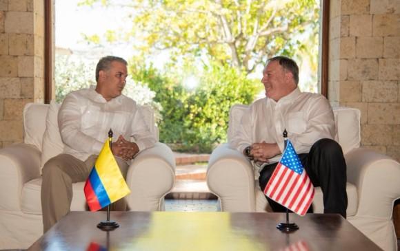 Reunión del presidente Iván Duque con Mike Pompeo en Cartagena. FOTO TWITTER IVÁN DUQUE.