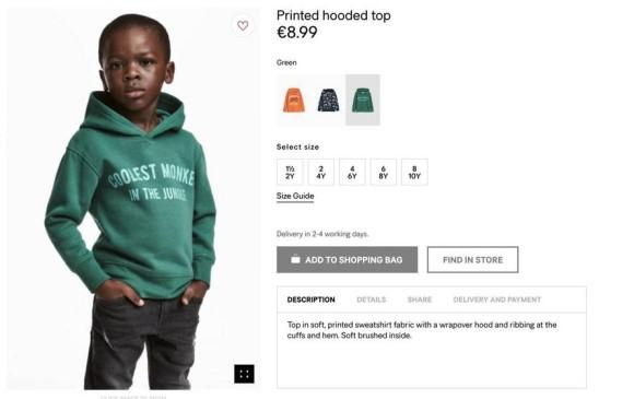 """""""El mono más cool de la jungla"""" es el mensaje que dice un buzo que modela un niño afroamericano y ha causado indignación en redes. FOTO:"""