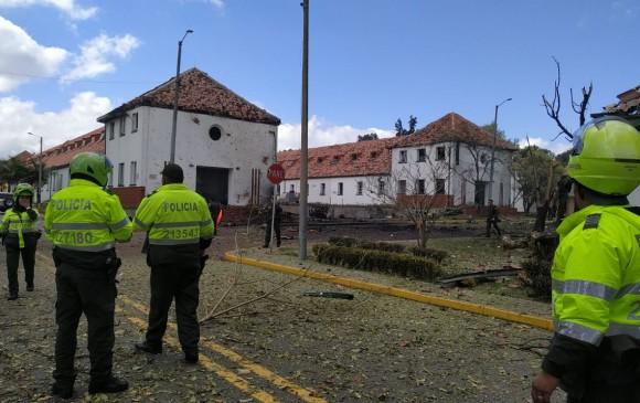 Así quedó la Escuela de Policía tras la explosión. FOTO CORTESÍA