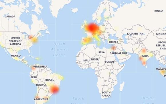 Zonas sin servicio de Whatsapp. Foto Downdetector