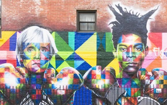 Mural en Nueva York con las imágenes de los artistas Andy Warhol y Jean-Michel Basquiat, hecho por el artista brasileño Eduardo Kobra. FOTO shutterstock