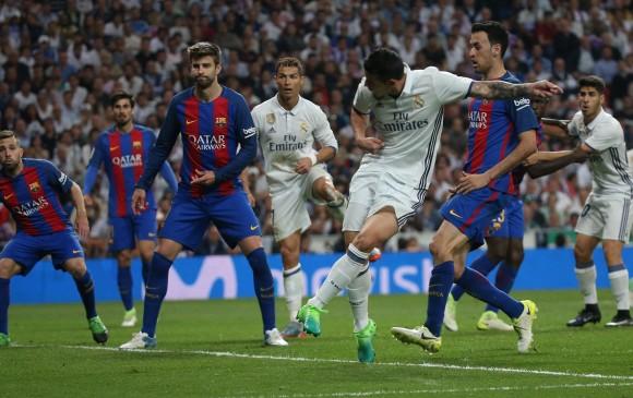 Esta fue la acción de la anotación de James Rodríguez en el derbi ante el Barcelona. Le faltaron más minutos. FOTO reuters