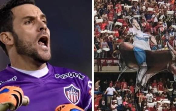 Esta es la imagen con la que el arquero del Junior acompañó su comentario sobre el tifo que le sacaron en norte, los hinchas del Independiente Medellín. FOTO TOMADA DEL INSTAGRAM SEBASTIÁN VIERA