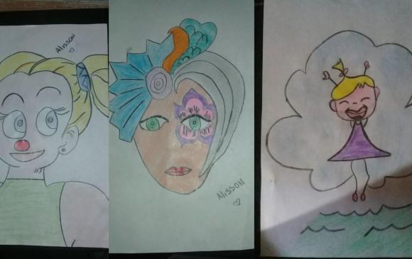 Estos son algunos de los dibujos que hace Alisson. FOTO CORTESÍA