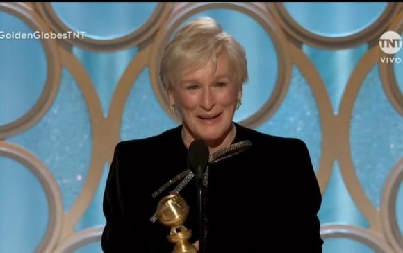 Glenn Close recibió el tercer Globo de Oro de su carrera. FOTO Cortesía TNT