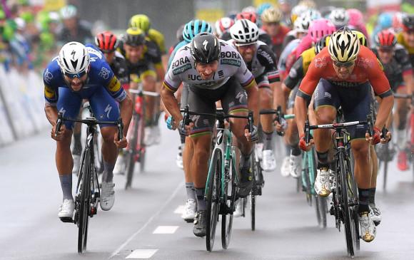 Gaviria, Sagan y Colbrelli, gran duelo del momento que también se vivirá en el Tour. FOTO CORTESÍA QUICK-STEP