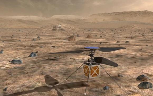 Ilustración de cómo se verá el helicóptero en Marte