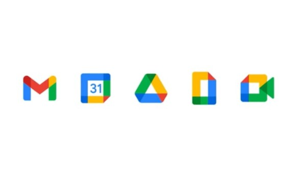 Gmail, Calendar, Drive, Documentos y Meet con sus nuevos logos. FOTO Cortesía Google Workspaces