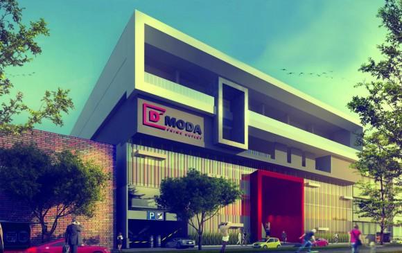 Proyección arquitectónica de cómo será la fachada del outlet D'Moda que estará ubicado en la carrera 14 con carrera 65, suroccidente de Medellín. FOTO cortesía