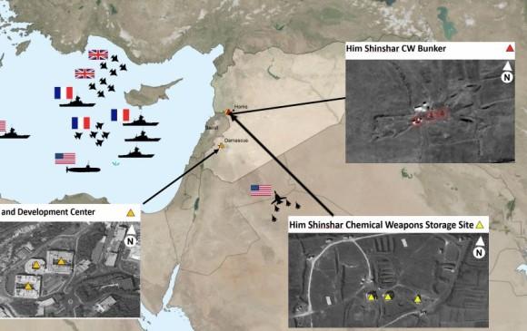 Mapa con la ubicación de los tres lugares que fueron bombardeados. FOTO DEPARTAMENTO DE DEFENSA EE. UU.
