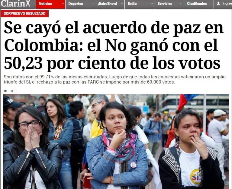 Resultado de imagen para Fotos del resultado del Plebiscito sobre los acuerdos de paz de Colombia