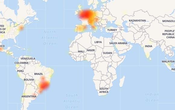 Zonas sin servicio de Whatsapp. Foto Downdetector.com