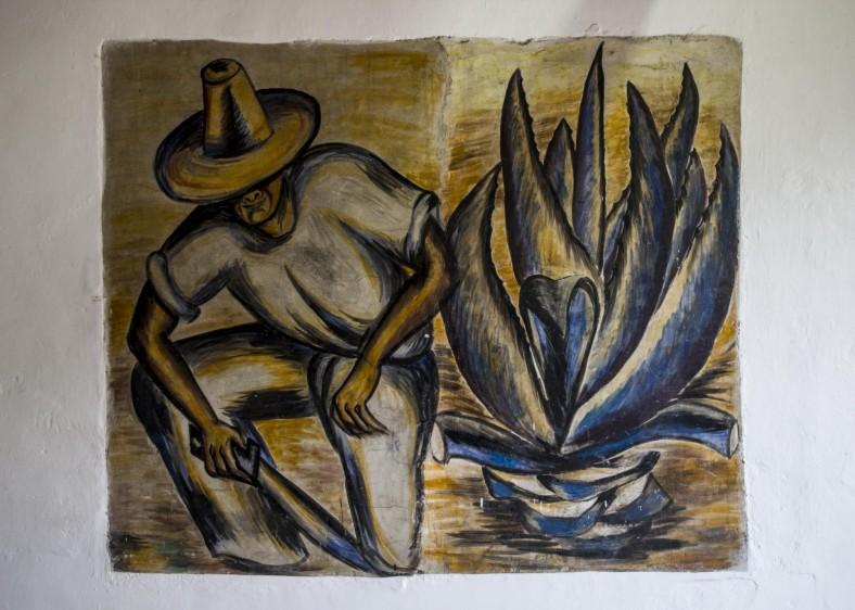 """En su casa hay una obra complementaria de su famoso mural """"cultivadores de fique"""". FOTO: JAIME PÉREZ"""